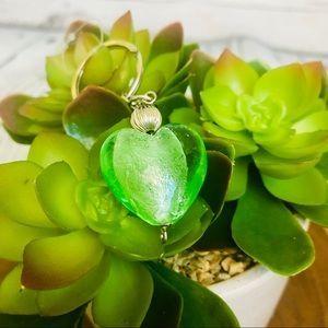 🆕New Murano glass heart shaped keychain in green